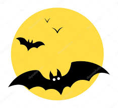 bats flying in sky moon halloween vector illustration u2014 stock