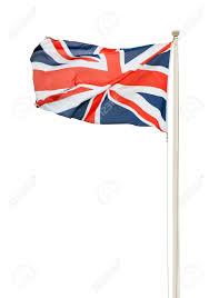 british union jack flag on a pole isolated on white background