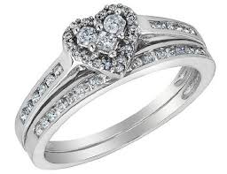 engagement rings and wedding band sets diamond heart engagement ring wedding band set
