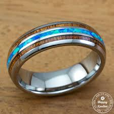koa wedding bands tungsten carbide ring with blue opal koa wood tri inlay 6mm dome