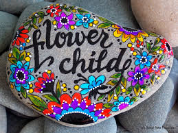 flower child painted rocks painted stones rock art hippie