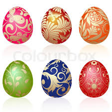 easter egg ornaments set of six easter eggs with gold ornaments stock vector colourbox