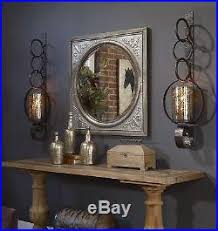 Wall Sconces Candles Holder Two Huge 39 Rust Brown Metal Mercury Glass Wall Sconce Candle