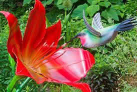 hummingbird garden ornament plant flower stock photography