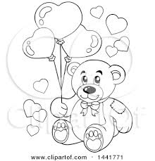 teddy bears in balloons clipart of a black and white lineart teddy holding