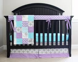 Purple And Aqua Crib Bedding Custom Baby Bedding Aqua Purple And Grey 4 Crib By Gigglesixbaby