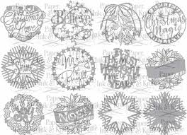 ornaments set of 12 papercut template paper ink and