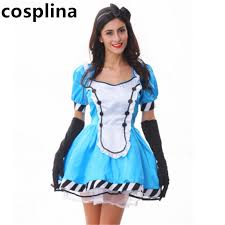 online shop plus size alice blue maid costume helloween alice in