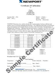 calibration report template factory calibrations for sensors wire instruments