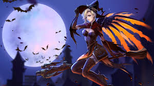 halloween hd wallpapers 1920x1080 mercy witch halloween bats moon over wallpaper 12267