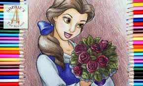 coloring page disney princess belle with roses colored with
