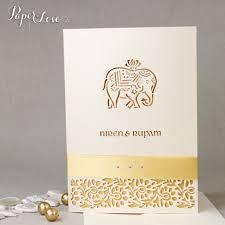 Wedding Invitation Cards Hindu Cream Metallic Elephant Laser Cut Indian Hindu Asian Wedding
