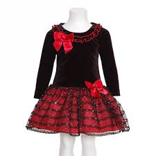 bonnie jean black red christmas dress baby toddler little girls 3m
