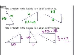showme geometry 7 2 special right triangles worksheet answers