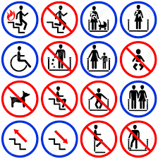 icons for escalators and stairs in the shop royalty free cliparts