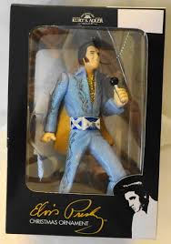 elvis in blue jumpsuit holding mic ornament new