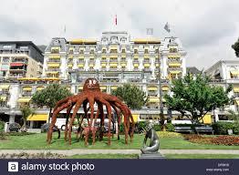 grand suisse hotel montreux canton of vaud lake geneva stock