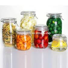 clear kitchen food storage airtight seal lock lid jar glass jar