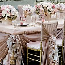 fancy white blush pink chiffon ruffled wedding chair covers chair