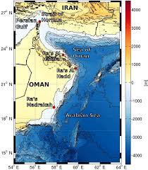 Seas Of The World Map by Topographic Map Of The Arabian Sea And Sea Of Oman With The