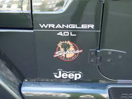 jeep wrangler sahara logo file jeep wrangler 4 0l sahara tj 1997 2006 badge frontsideleft 2008