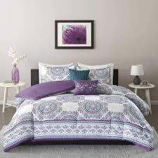 intelligent design mikay purple 5 piece comforter set free