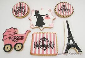 parisian baby shower themed baby shower cookies