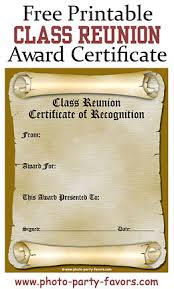 ideas for class reunions class reunion awards ideas free printable reunion award certificate
