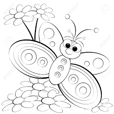 kids illustration butterfly daisy coloring royalty