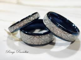 just men rings matching wedding bands meteorite inlay rings his and