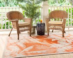 Coastal Outdoor Rugs Beachcrest Home Tomie Coastal Flora Ivory Orange Indoor Outdoor