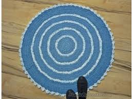Round Bathroom Rugs Blue Rag Rug Nursery Rug Kitchen Rug Handmade Rug 3ft 90cm