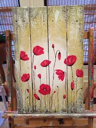wood painting poppy flowers pallet wood painting
