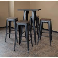 metal bar table set amerihome loft style metal bar table set in black with dark elm wood