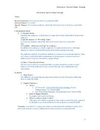 Example Of A Federal Resume Speech Outline Examples Persuasive Speech Sample Outline