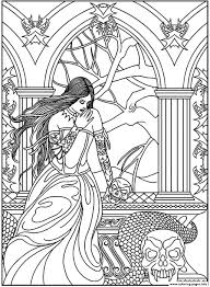 fantasy woman skulls snake coloring pages printable