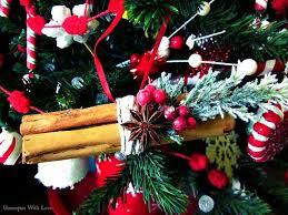 homespun with cinnamon stick ornaments