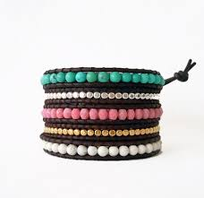 beaded bracelet leather images Turquoise and pink beaded leather wrap bracelet onsra designer jpg