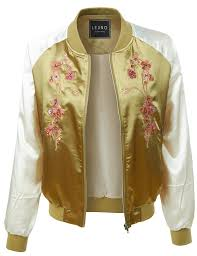 light bomber jacket womens le3no womens lightweight satin floral embroidery zip up bomber