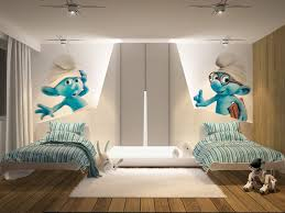 blue and white decorating ideas bedroom lovely white smurf themed kids bedroom design with two
