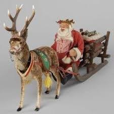 antique reindeer wicker sleigh santa ornaments toys