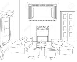 Room Sketch Drawing Room Editable Illustration Of An Outline Sketch Of A