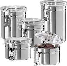 oggi kitchen canisters oggi 5 stainless steel canister set 9325