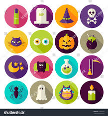 flat magic halloween witch circle icons stock vector 318562139