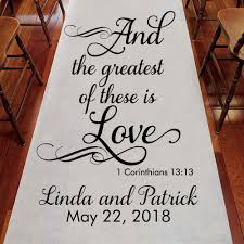 personalized aisle runner and the greatest of these is personalized wedding aisle