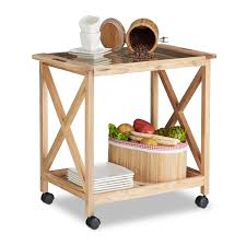 chariot de cuisine de cuisine en bois avec roulettes