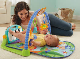 amazon com fisher price kick u0026 play piano gym blue green baby