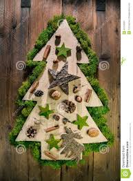 christmas tree decorated with natural material from the forest