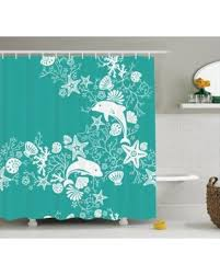 bargains on sea animals decor shower curtain set dolphins and