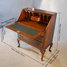 Queen Anne Secretary Desk by Antique Bureau Writing Desk Mahogany English Edwardian Queen Anne